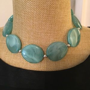 Turquoise color statement choker AND earrings!